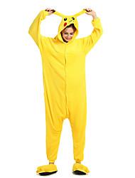 cheap -Adults' Kigurumi Pajamas Pika Pika Animal Onesie Pajamas Coral fleece Yellow Cosplay For Men and Women Animal Sleepwear Cartoon Festival / Holiday Costumes