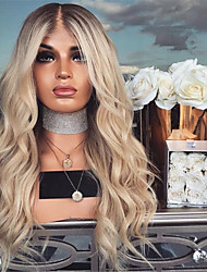 cheap -Synthetic Wig Curly Asymmetrical Wig Long Blonde Synthetic Hair 27 inch Women's Best Quality Blonde Ombre