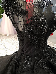 cheap -A-Line V Neck Floor Length Lace / Tulle Regular Straps Formal Black Wedding Dresses with Beading / Lace Insert 2020