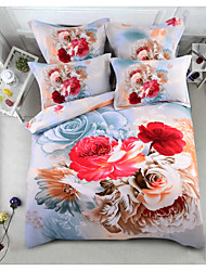 cheap -Duvet Cover Sets 6 Piece Polyester / Polyamide Floral / Botanical Cream Printed Contemporary