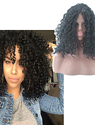 cheap -Synthetic Wig Afro Curly Asymmetrical Wig Medium Length Natural Black Synthetic Hair 16 inch Women's Best Quality Black