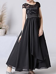 cheap -A-Line Round Neck Ankle Length Chiffon Junior Bridesmaid Dress with Bow(s)