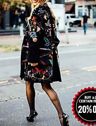 abordables -Femme Quotidien Automne hiver Normal Manteau, Plantes Sans col Manches Longues Polyester Noir
