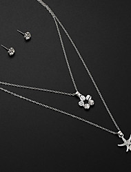 cheap -Women's Stud Earrings Pendant Necklace Y Necklace Cut Out Star Precious Unique Design Fashion Imitation Pearl Rhinestone Silver Plated Earrings Jewelry Silver For Street Daily Work 1 set