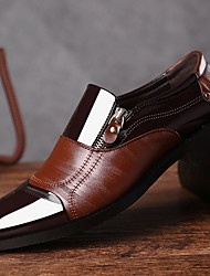 cheap -Men's Loafers & Slip-Ons Comfort Shoes Daily Patent Leather Black Brown Color Block Fall & Winter