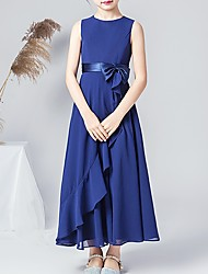 cheap -A-Line Round Neck Ankle Length POLY Junior Bridesmaid Dress with Bow(s) / Ruffles