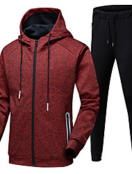 cheap -Men's 2-Piece Full Zip Tracksuit Sweatsuit Casual Long Sleeve Front Zipper Thermal / Warm Breathable Soft Running Fitness Jogging Sportswear Athletic Clothing Set Athleisure Wear Black Red Blue Gray