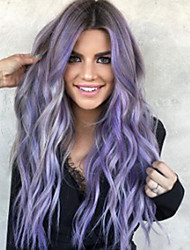 cheap -Synthetic Wig Body Wave Asymmetrical Wig Long Purple Synthetic Hair 23 inch Women's Best Quality curling Purple