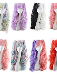 cheap -Synthetic Wig Body Wave Asymmetrical Wig Long Black / White Pink Blue Gold Pink Purple Synthetic Hair 25 inch Women's Best Quality curling Red Black