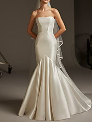 cheap -Mermaid / Trumpet Strapless Floor Length Satin Strapless Plus Size Wedding Dresses with 2020