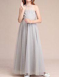 cheap -A-Line Halter Neck Ankle Length Tulle Junior Bridesmaid Dress with Ruching