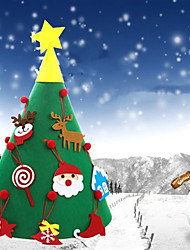 cheap -DIY Three-Dimensional Felt Fabric Christmas Tree Large Hanging Gift Happy New Year Christmas Party Accessories