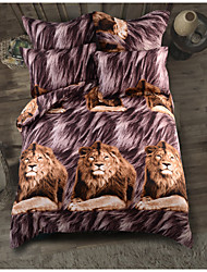 cheap -Duvet Cover Sets 6 Piece Polyester / Polyamide Animal Brown Printed Classic