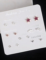 cheap -Women's Stud Earrings Mismatch Earrings Earrings Set Round Cut Heart Star Trendy Korean Sweet Fashion Imitation Diamond Earrings Jewelry Silver For Graduation Gift Daily Holiday Work