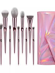 cheap -Miyaup 10 pink plastic handle diagonal outline brush with very beautiful bag girl super cute makeup brush