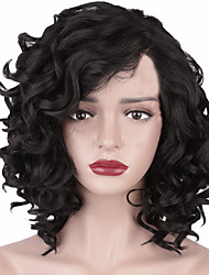 cheap -Synthetic Wig Afro Curly Asymmetrical Wig Short Natural Black Synthetic Hair 11 inch Women's Best Quality curling Black