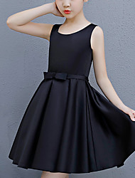 cheap -A-Line Round Neck Above Knee Satin Junior Bridesmaid Dress with Bow(s)