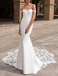 cheap -Mermaid / Trumpet Off Shoulder Court Train Lace / Satin Short Sleeve Romantic Plus Size Wedding Dresses with Buttons 2020