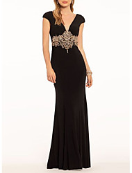 cheap -Sheath / Column Plunging Neck Sweep / Brush Train Jersey Open Back Engagement / Formal Evening Dress with Appliques 2020