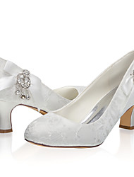 cheap -Women's Wedding Shoes Chunky Heel Closed Toe Lace / Satin Sweet Spring & Summer / Fall & Winter Ivory