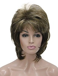 cheap -Synthetic Wig Wavy Wavy Layered Haircut With Bangs Wig Medium Length Ash Brown Synthetic Hair Women's Brown