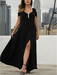 cheap -A-Line Elegant Prom Formal Evening Dress Sweetheart Neckline Short Sleeve Floor Length Spandex with Pleats Ruched Crystals 2020 / Split Front