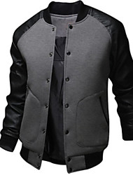 cheap -Men's Daily EU / US Size Regular Jacket, Color Block Stand Long Sleeve Polyester Black / Dark Gray / Light gray