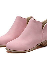 cheap -Women's Boots Low Heel Pointed Toe PU Booties / Ankle Boots Winter Black / Pink / Beige