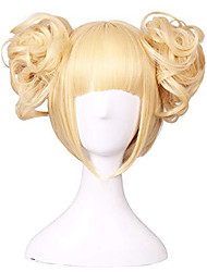 cheap -Synthetic Wig Curly Bob Neat Bang Wig Short Blonde Synthetic Hair 11 inch Women's Best Quality Blonde