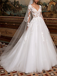 cheap -A-Line Wedding Dresses V Neck Sweep / Brush Train Lace Tulle Long Sleeve Plus Size Illusion Sleeve with 2020