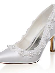 abordables -Femme Chaussures de mariage Talon Aiguille Bout pointu Satin Doux Printemps été / Automne hiver Ivoire / Mariage
