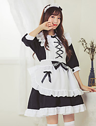 cheap -Sweet Lolita Maid Uniforms Dress Female Japanese Cosplay Costumes White Color Block 3/4 Length Sleeve / Apron