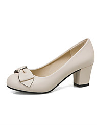 cheap -Women's Heels Chunky Heel Round Toe Bowknot PU Casual / Sweet Spring & Summer White / Pink / Beige