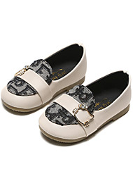 cheap -Girls' Comfort / Flower Girl Shoes PU Loafers & Slip-Ons Little Kids(4-7ys) / Big Kids(7years +) Button / Split Joint Black / Beige Spring / Fall / Party & Evening / Color Block