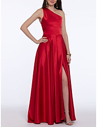 cheap -A-Line Open Back Prom Formal Evening Dress One Shoulder Sleeveless Sweep / Brush Train Satin with Pleats Split Front 2020