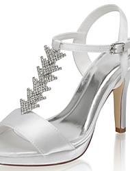 abordables -Femme Chaussures de mariage Talon Aiguille Bout ouvert Satin Doux Printemps été / Automne hiver Ivoire / Mariage
