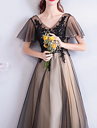 cheap -A-Line V Neck Floor Length Lace / Tulle Short Sleeve Formal Black Wedding Dresses with Lace Insert / Appliques 2020