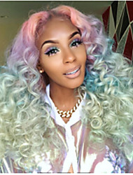 cheap -Synthetic Wig Curly Wavy Asymmetrical Wig Long Rainbow Synthetic Hair 27 inch Women's Best Quality Mixed Color