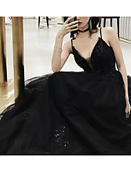 cheap -A-Line V Neck Court Train Lace Spaghetti Strap Formal Black Wedding Dresses with Draping 2020