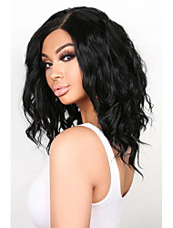 cheap -Synthetic Lace Front Wig Wavy Middle Part Lace Front Wig Short Natural Black #1B Synthetic Hair 12-16 inch Women's Adjustable Heat Resistant Party Black