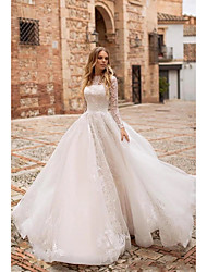cheap -Ball Gown Jewel Neck Sweep / Brush Train Lace / Tulle Long Sleeve Romantic See-Through / Illusion Sleeve Wedding Dresses with Lace / Appliques 2020
