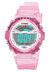 Недорогие -SYNOKE электронные часы Цифровой Спортивные Стильные силиконовый 30 m Защита от влаги Календарь ЖК экран Цифровой На открытом воздухе Мода - Белый Синий Розовый