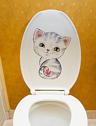 cheap -Cute Cat Toilet Stickers - Animal Wall Stickers Animals / Shapes Bathroom / Kids Room 11*14.5cm