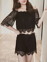 cheap -Women's Lace / Cut Out / Mesh Gartered Lingerie / Matching Bralettes / Robes Nightwear Jacquard / Solid Colored / Embroidered Black White S M L