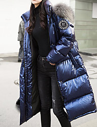 cheap -Women's Solid Colored Long Puffer Jacket, POLY Blue / Gray S / M / L
