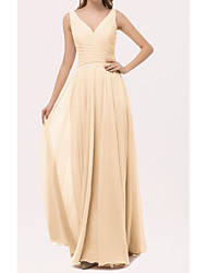 cheap -A-Line V Neck Floor Length Chiffon Bridesmaid Dress with Bow(s) / Sash / Ribbon / Ruching