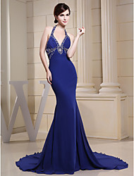 cheap -Mermaid / Trumpet Halter Neck Chapel Train Chiffon Sparkle Engagement / Formal Evening Dress with Beading 2020