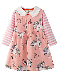 cheap -Kids Girls' Floral Long Sleeve Above Knee Dress Blushing Pink