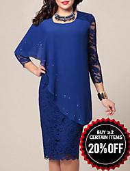 cheap -Women's Bodycon Dress Lace Chiffon Fashion Spring Blue Green S M L XL