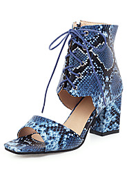 cheap -Women's Sandals Spring & Summer Chunky Heel Open Toe Vintage Minimalism Daily Party & Evening Snake PU White / Burgundy / Blue / Animal Print